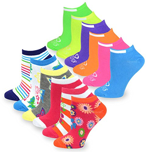 TeeHee Women's Fashion No Show/Low cut Fun Socks 12 Pairs Packs (Butterfly Flower-Neon)