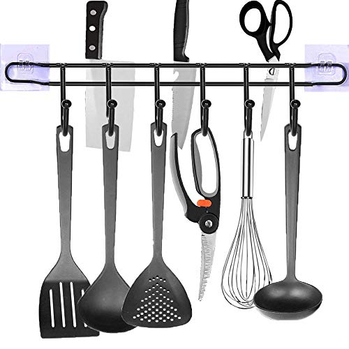 EigPluy Kitchen Utensil Rack with Kinfe Holder,6 Hooks Drilling Free Kitchen Hanging Hooks Organizer 17 inch Wall Mounted Kitchen Tools Mug Cups Storage Hanger Shelf (Black)