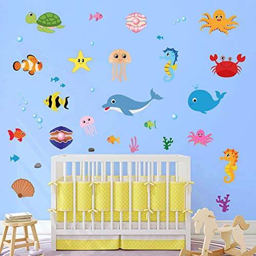 decalmile Under The Sea Wall Stickers Whale Dolphin Fish Wall Decals Baby Nursery Kids Bedroom Bathroom Wall Decor