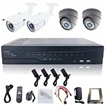 WISEUP 4Ch 1080P Realtime Recording HD-SDI DVR Camera Kit CCTV Security System DVR Kit 3TB HDD