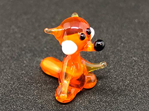 Glass Fox Miniature Figurine 1 Inch Mini Animals