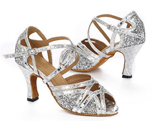 TDA Womens Comfort Ankle Strap Glitter Synthetic Salsa Tango Ballroom Latin Modern Dance Wedding Shoes Silver 7OryZQLw6