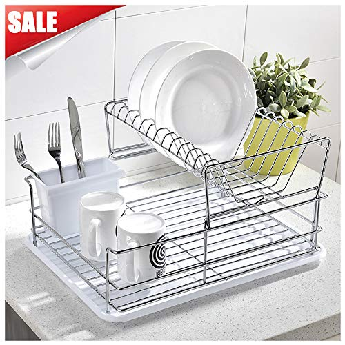 GLANZHAUS 2-Tiered Stylish Designed Small Deep Stainless Steel Collapsible Kitchen Dish Drying Rack, Dish Drainer and White Cutlery Holder with Silicone Drainboard