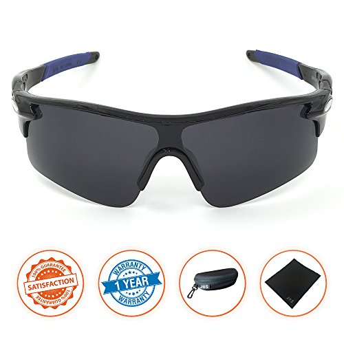 J+S Active PLUS Cycling Outdoor Sports Athlete's Sunglasses, Polarized, 100% UV protection (Black Frame / Black Lens)