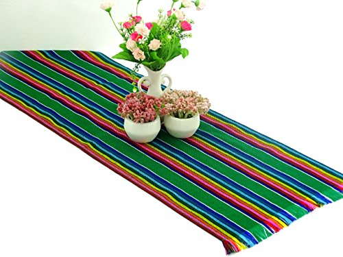 Green Mexican Table Runner, Aztec Table Cloth, Mexican Wedding, Day of the Dead Party Decor, Colorful Fiesta Decorations, 14x72 Inches by MexFabricSupplies