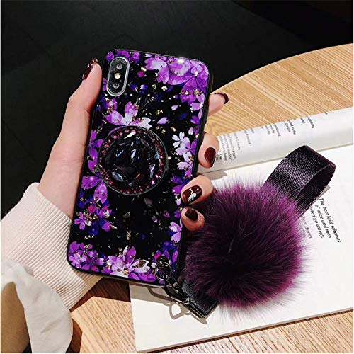 for iPhone XR Cherry Blossoms Airbag Bracket Case - Vintage Cherry Diamond Airbag Stand Holder Case Cover with Soft Fur Ball and Wristband Strap for Women Girls (Rose Red)
