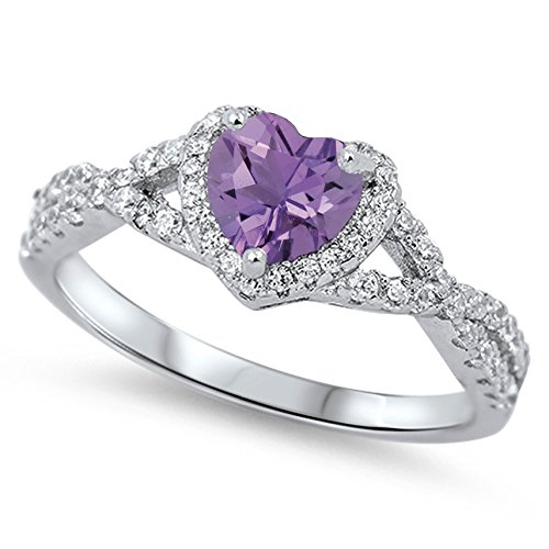 Genuine Amethyst Ring Birthstone (925 Sterling Silver Faceted Natural Genuine Purple Amethyst Heart Halo Promise Ring Size 6)