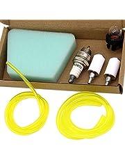 SWNKDG Kit universal de filtro de gasolina Cartucho del filtro de aire Manguera de combustible (2.5 x 5 mm 2 x 3.5 mm) para Cortadora de cepillo Cortadora de hierba Motosierra eléctrica