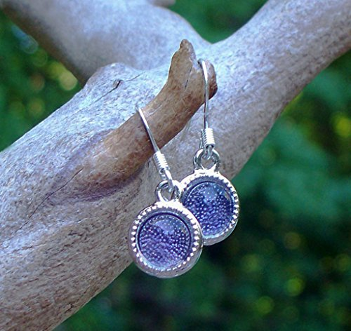 - Recycled Early 1900's Purple Medicine Bottle Glass Color Dot Earrings