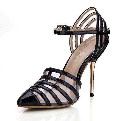 estrecha Best de de las PU hebilla alta de 4U® EU35 10 de metal KUKIE superior bombas negro zapatos mujeres suela 7CM correas tacones punta goma Verano una sandalias d7atxq