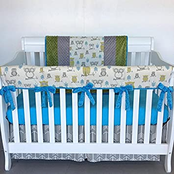 Amazon Com Crib Set 4pc Nursery Bedding Guard Rail Hooty Owls