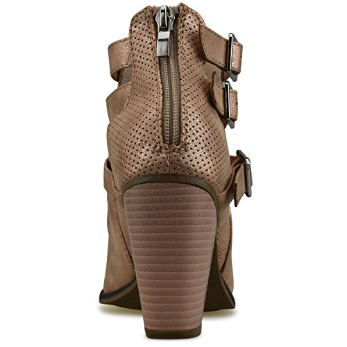 Rose Buckle Ankle Gold Booties Block Women's Heel Strap Standard Premier Premier wOEnYP6zqx