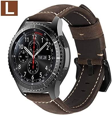 MroTech Correa Gear s3 Frontier Piel Galaxy Watch 46mm Correas de Reloj de Cuero 22mm Liberación Rápida Pulsera Compatible para Samsung Gear ...