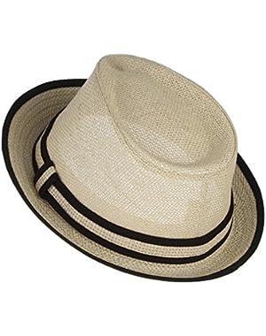 Little Boy's Kids Summer Straw Trilby Fedora Hat with Straw Hatband