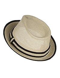Gemvie Little Boy's Kids Summer Straw Trilby Fedora Hat with Straw Hatband
