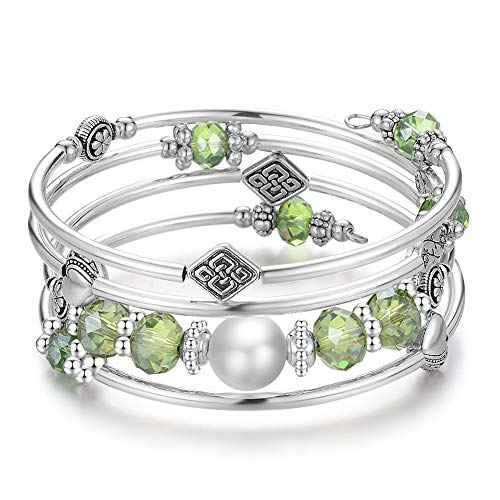 Wrap Bangle Layered Crystal Bracelet - Fashion Jewelry Bead Bracelet Gifts for Women Girls (06-Green)