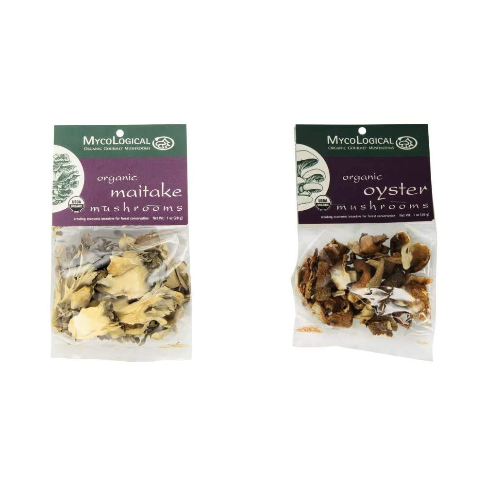 Mycological Dried Organic Maitake Mushrooms, 1 Ounce Package & Dried Organic Oyster Mushrooms, 1 Ounce Package