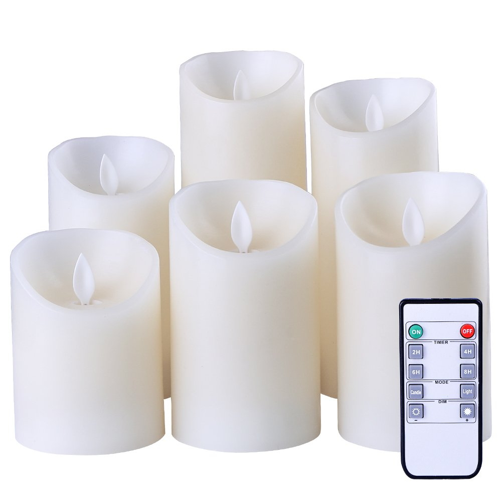 Flameless Candles Flickering Light Pillar Real Smooth Wax with Timer and 10-key Remote for Wedding,Votive,Yoga and Decorationset of 6 by ZTD (Image #4)