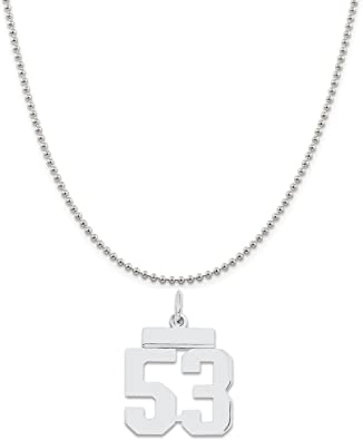 925 Sterling Silver Polished /& Satin Small Number 3 Charm Pendant