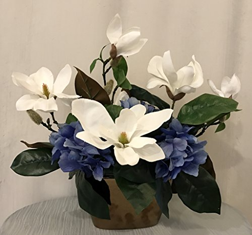 Magnolia And Hydrangea Arrangement In Ceramic Vase White And Green Office Home Indoor Decor Flower Centerpiece Handcrafted At The Floral Mart Buy Online In Kuwait At Desertcart Com Kw Productid 41319898