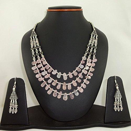 Cave Stud Adult Costumes (Natural Rose Quartz Necklace Earrings Set)