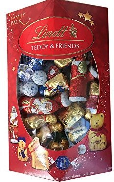 Lindt Teddy and Friends Family Share Pack 400g Chocolate Hollow & Filled Christmas Figures & Shapes 400g]()