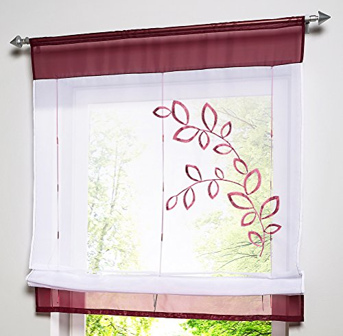 LivebyCare 1pcs Country Style Leaves Embroidered Roman Shades Ribbon Liftable Organza Tab Top Rod Pocket Sheer Balcony Window Curtain for Kitchen (Rod Organza Ribbon Pocket Curtain)