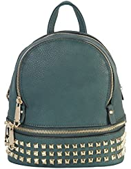 Rimen & Co. PU Leather Golden Studded & Zipper Décor Mini Chic Backpack BB-3851