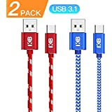 USB Association Certified, USB3.1 Type C Gen2 Cable,10Gbps Speed, 3.3ft(2pack), Red&White+Blue&White, Fast Charger Cord, Nylon Braided, for Galaxy Note 8, S9, S9 Plus, S8, S8 Plus +, and more