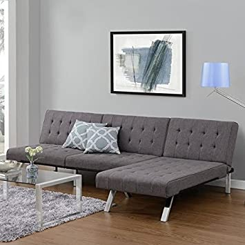 emily futon chaise lounger  gray  emily futon chaise lounger   roselawnlutheran