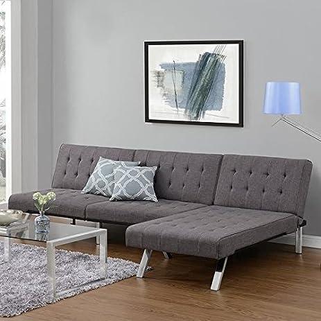 emily futon chaise lounger  gray  amazon    emily futon chaise lounger  gray   kitchen  u0026 dining