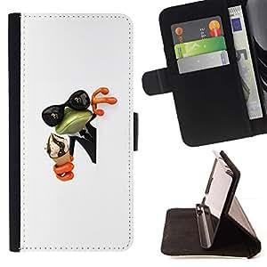 Momo Phone Case / Flip Funda de Cuero Case Cover - Crema Rana Shades Sunglasses Verde Blanco - LG G4c Curve H522Y (G4 MINI), NOT FOR LG G4