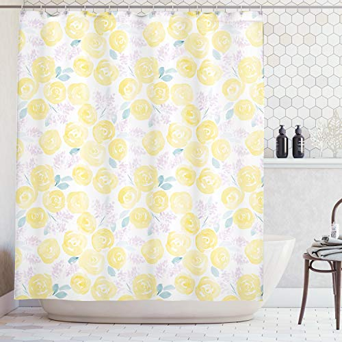 Ambesonne Watercolor Flower Decor Collection, Pale Roses and Cute Little Flowers Paint Pretty Floral Vintage Artwork, Polyester Fabric Bathroom Shower Curtain Set with Hooks, Lilac Yellow White