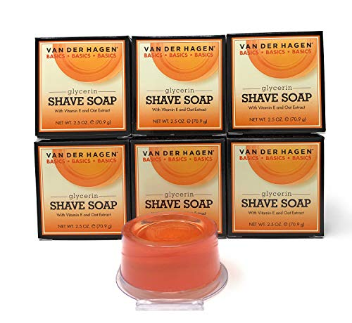 Van Der Hagen Glycerin Shave Soap, 2.5-Ounce Boxes (Pack of 6) (Van Der Hagen Glycerin)