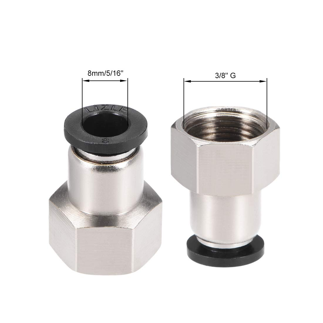 uxcell Straight Pneumatic Push to Connect Female Quick Fitting Adapter 4mm or 5//32 Tube OD x 1//4 G Silver Tone 4pcs