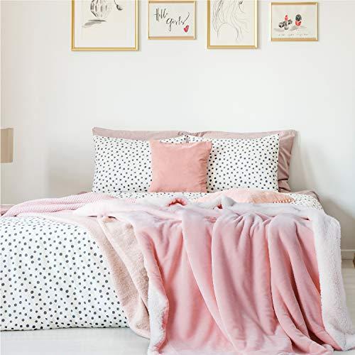 Bedsure Sherpa Fleece Blanket Twin Size Pink Plush Blanket Fuzzy Soft Blanket Microfiber