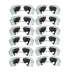 Wholesale 12 Pairs Aviator Classic Sunglasses Full Mirror Lens Silver color Frame (w12 pairs Silver Mirror) OWL.
