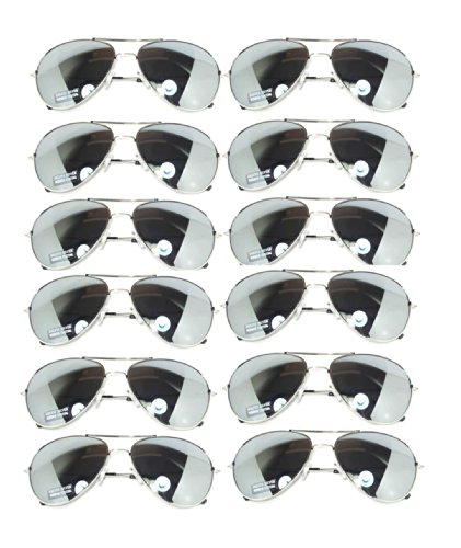 (Wholesale 12 Pairs Aviator Classic Sunglasses Full Mirror Lens Silver color Frame (w12 pairs Silver Mirror) OWL.)