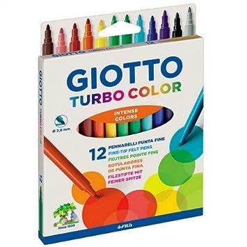 GIOTTO Turbo Color - Juego de 12 rotuladores de colores intensos con punta fina, 2,8mm de diámetro, 13 cm x 17,5 cm: Amazon.es: Hogar