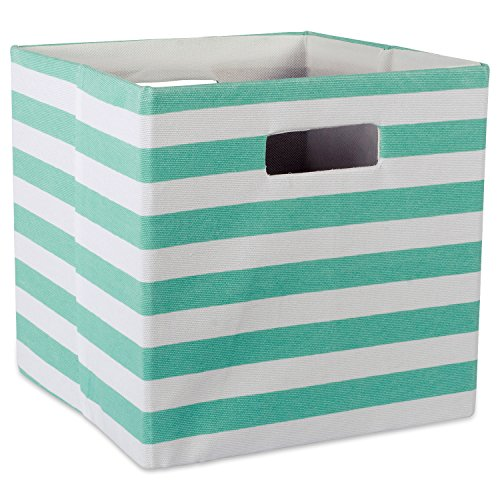 DII Foldable Fabric Storage Container for Nurseries, Offices, Closets, Home Décor, Cube Organizer & Everyday Use, 13 x 13 x 13, Stripe Aqua, Large,