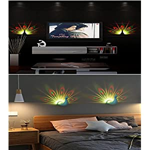 Night Light Projector, Hisoo 7 Color Changing LED Peacock Wall Lamp with Smart Touch&Remote Control Home Decorative 3D Wall Lamp for Baby Nursery Kids
