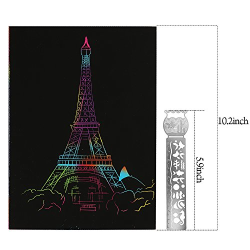 Vamei 20pcs Scratch Art Paper Sketch Scratch Art Rainbow Paper With