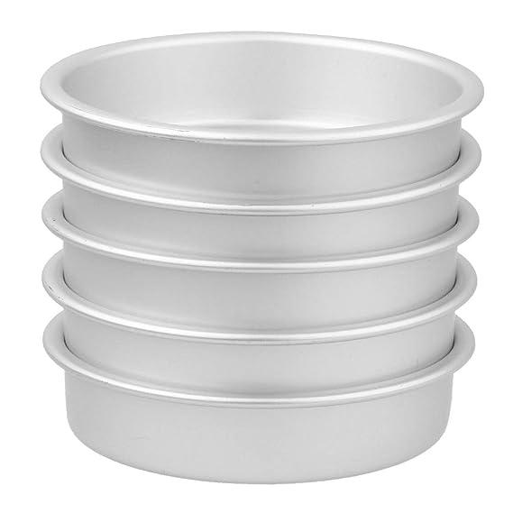 Molde para Pastel Redondo de Aluminio Molde de Cocción DIY 5PCS Bandeja de pizza Taza Budín Tipo A 5PCS: Amazon.es: Ropa y accesorios