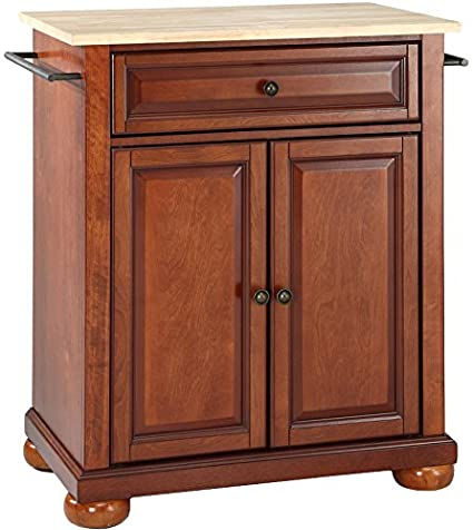 Crosley Furniture Alexandria Cuisine Kitchen Island With Natural Wood Top    Classic Cherry