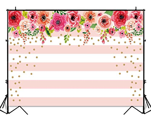 Funnytree 7X5ft Pink and White Stripes Flowers Party Backdrop Floral Rose Birthday Photo Background Gold Sprinkle Bridal Shower Sweet Table Banner Wedding Decorations for -