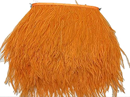 ADAMAI Natural Ostrich Feathers Trims Fringe DIY Dress Sewing Crafts Costumes Decoration Pack of 5 Yards (Orange) -
