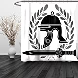HAIXIA Shower Curtain Toga Party Roman Helmet with Sword and Olive Branches Ancient Mediterranean Empire Icons Black White