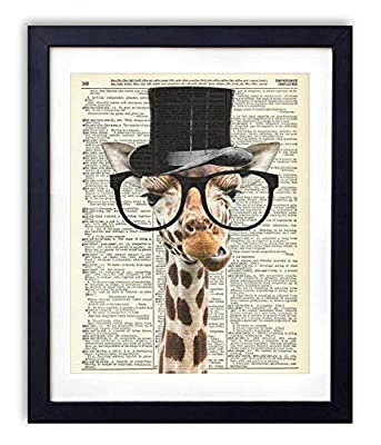 Gentleman Giraffe Upcycled Vintage Dictionary Art Print 8x10