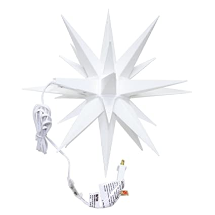 roman 06764 15 watt 14 white moravian star hanging christmas light