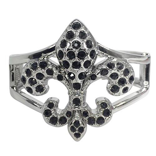 Fleur De Lis Rhinestone Statement Bracelet (Black - Silver Tone)